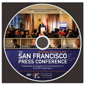 DVD 9/11 press conference in San Francisco on February 19, 2010. Pack of DVDs in paper sleeves.